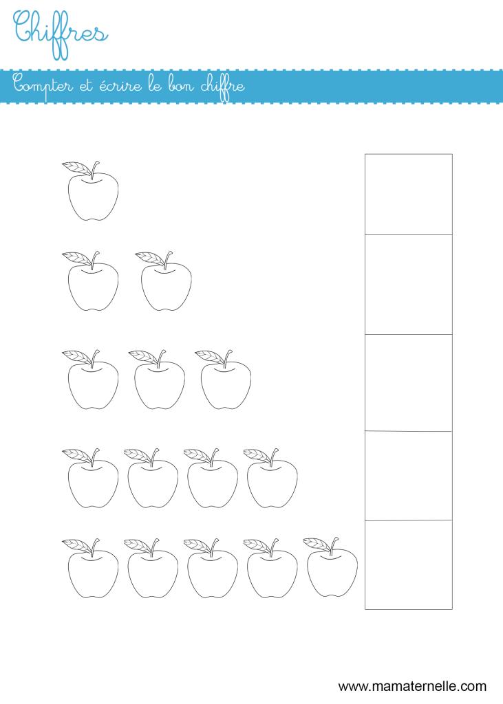 Moyenne section - Chiffres : compter et écrire le bon chiffre