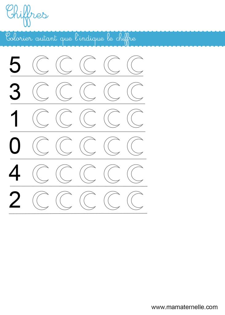 Petite section - Chiffres : colorier autant que le chiffre