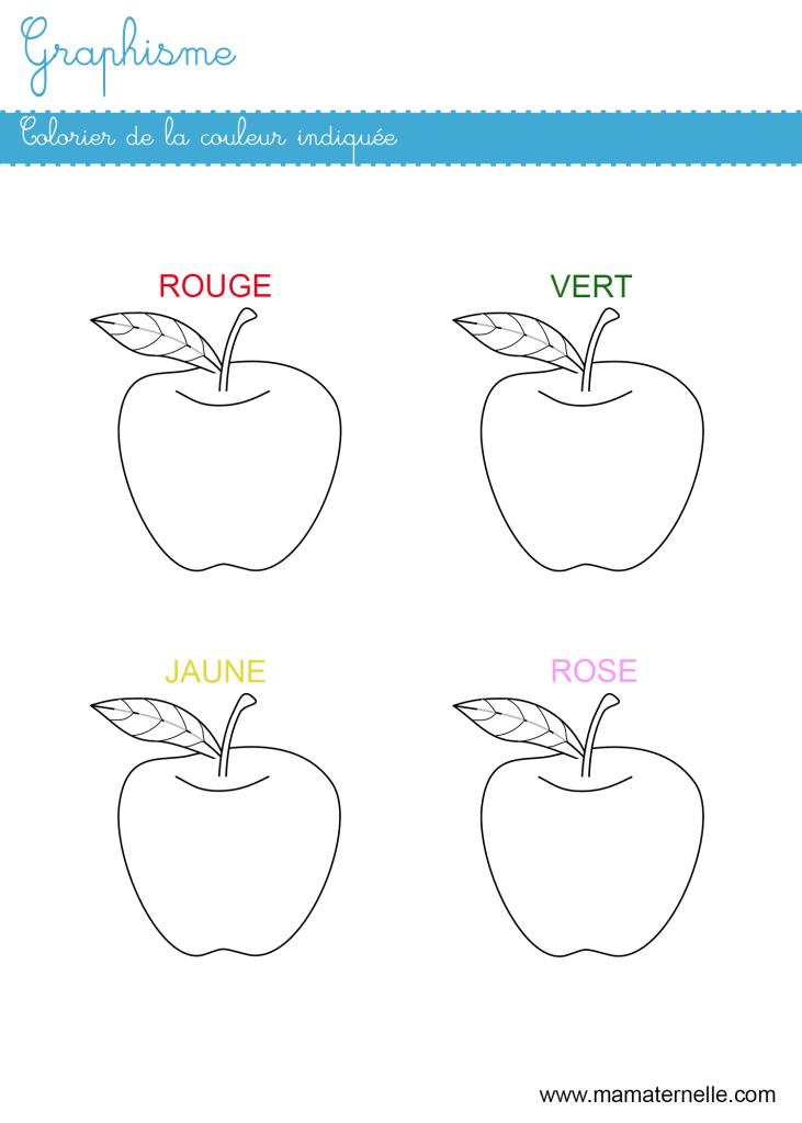 Petite section - Graphisme : colorier de la couleur indiquée