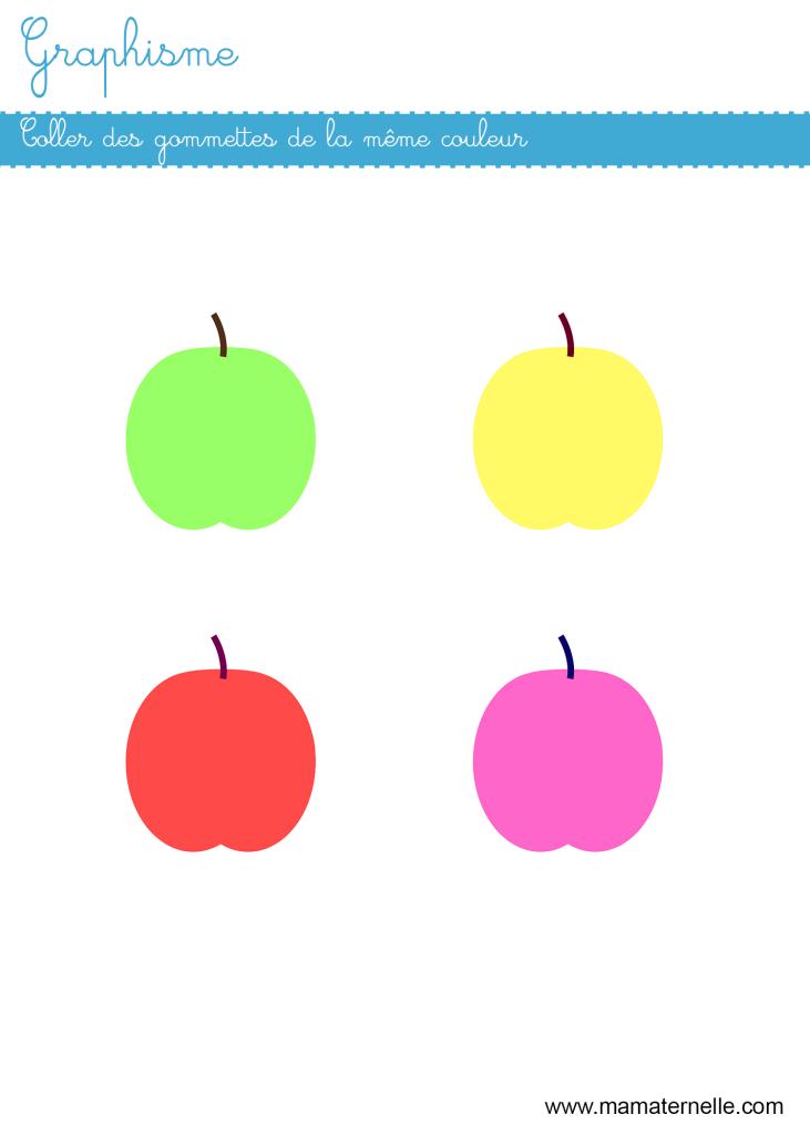 Petite section - Graphisme : coller des gommettes par couleur