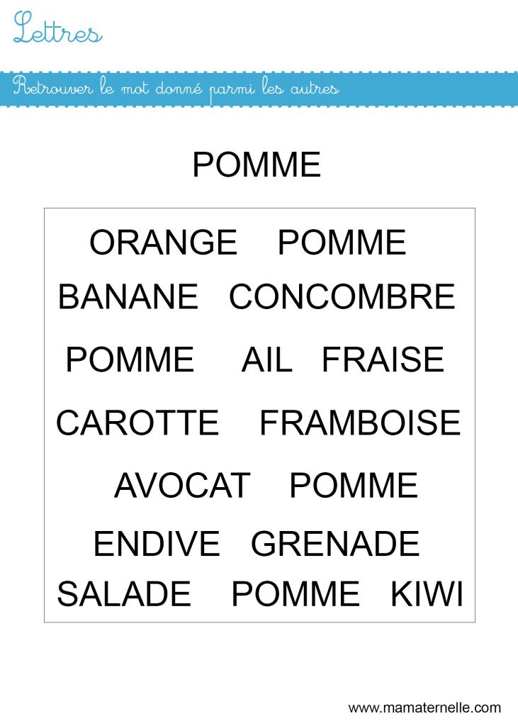Moyenne section - Lettres : retrouver le mot «pomme»