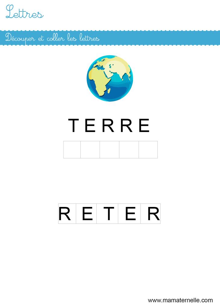 Petite section - Lettres : découper et coller les lettres