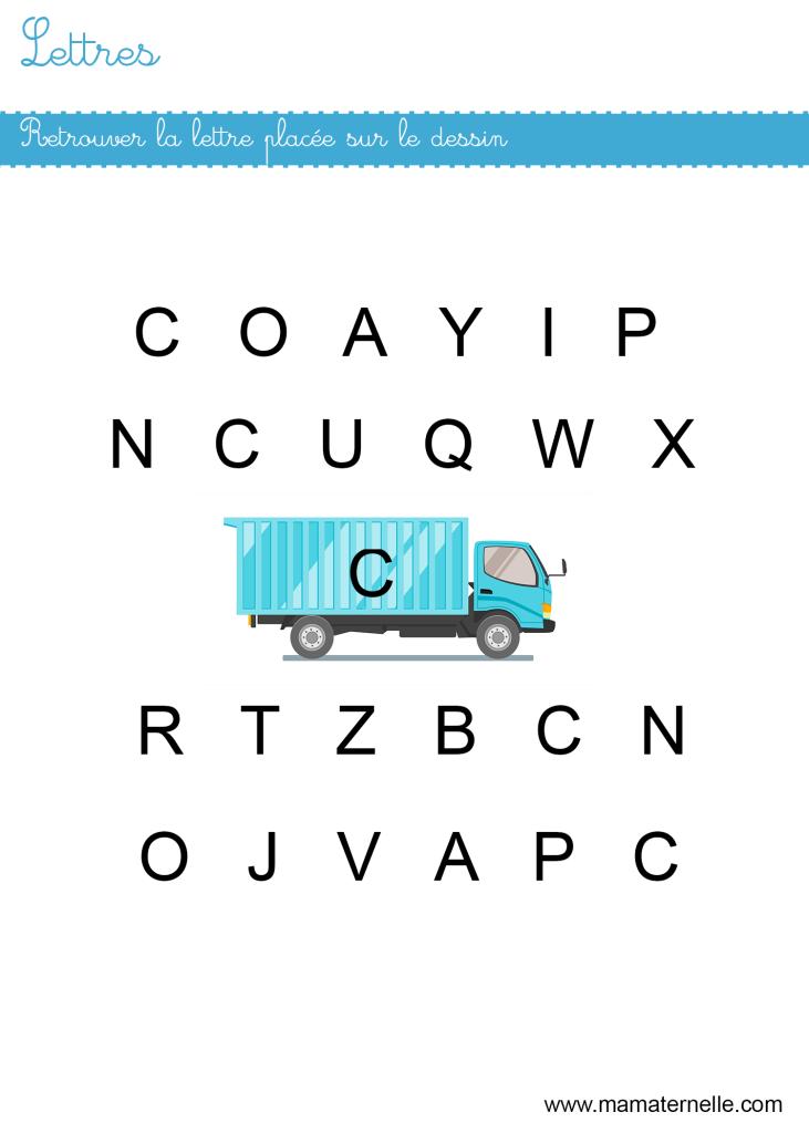 Petite section - Lettres : retrouver les lettres C