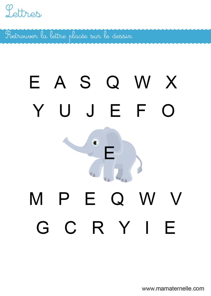 Petite section - Lettres : retrouver les lettres E