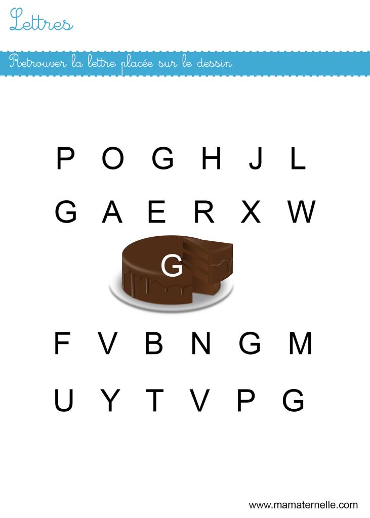 Petite section - Lettres : retrouver les lettres G