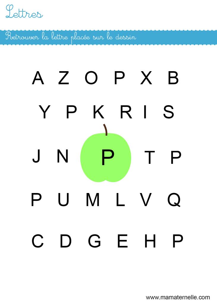 Petite section - Lettres : retrouver les lettres P