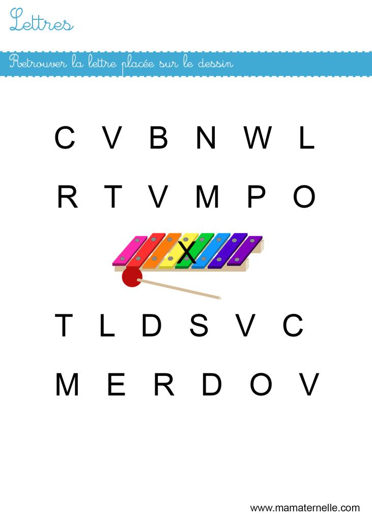 Petite section - Lettres : retrouver les lettres X