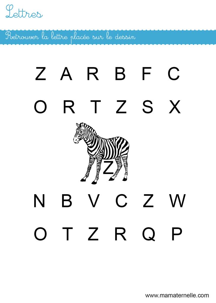 Petite section - Lettres : retrouver les lettres Z