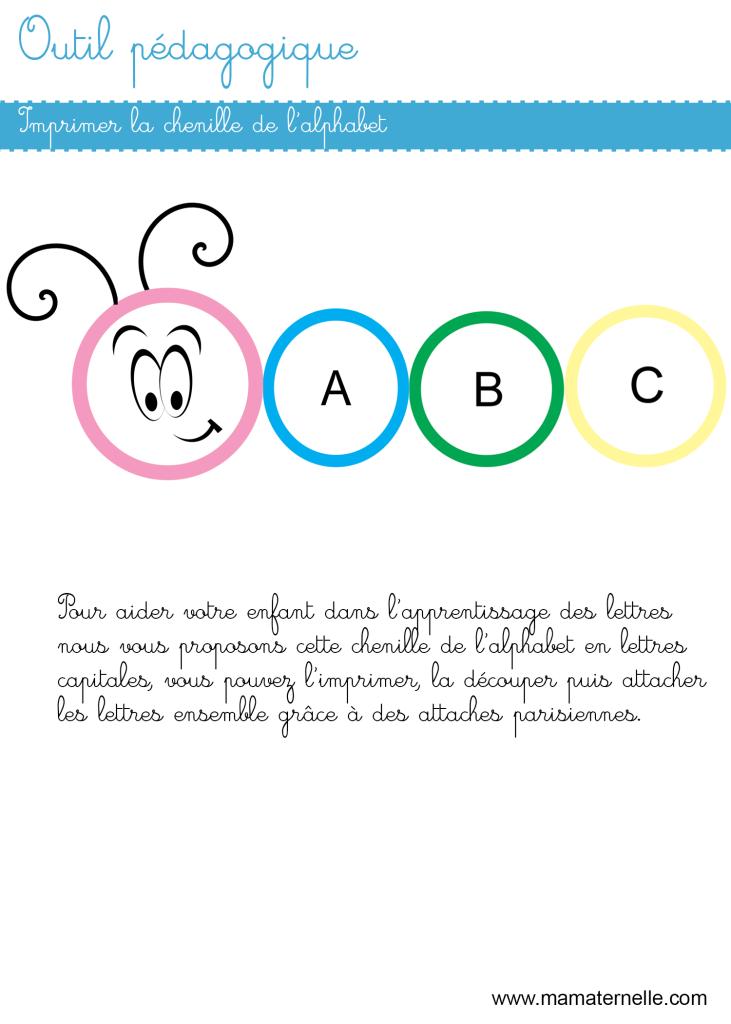 Activités - Outil pédagogique : chenille de l'alphabet