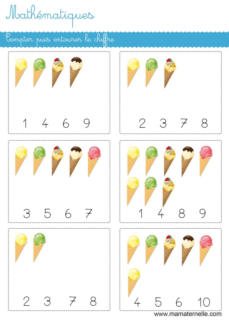 Moyenne section - Mathématiques : compter puis entourer le chiffre