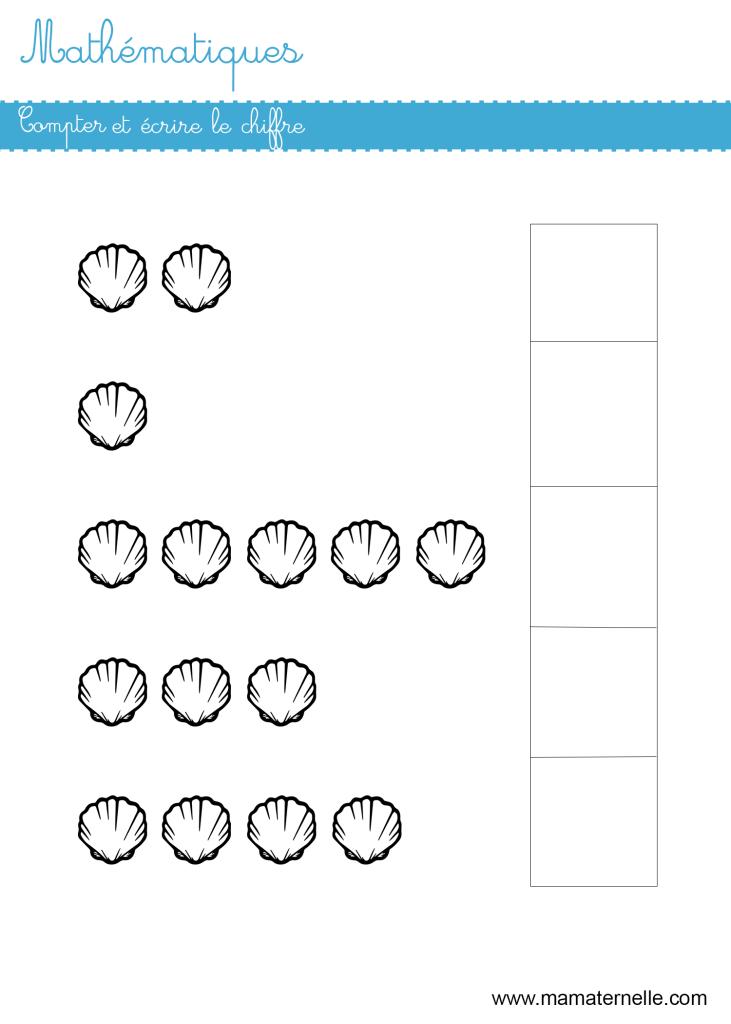Moyenne section - Mathématiques : compter et écrire le chiffre