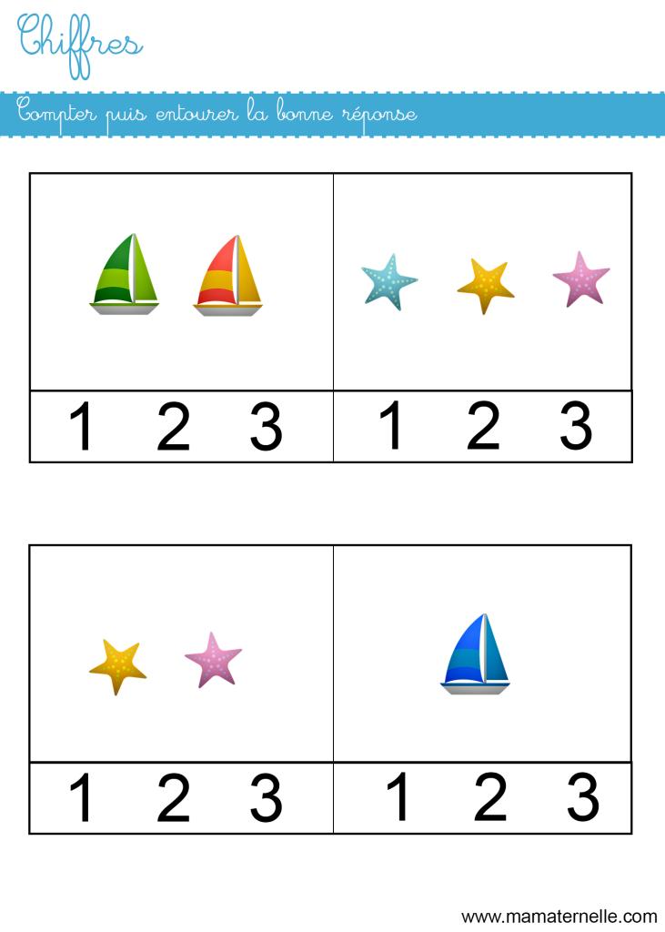 Petite section - Chiffres : compter puis entourer la réponse