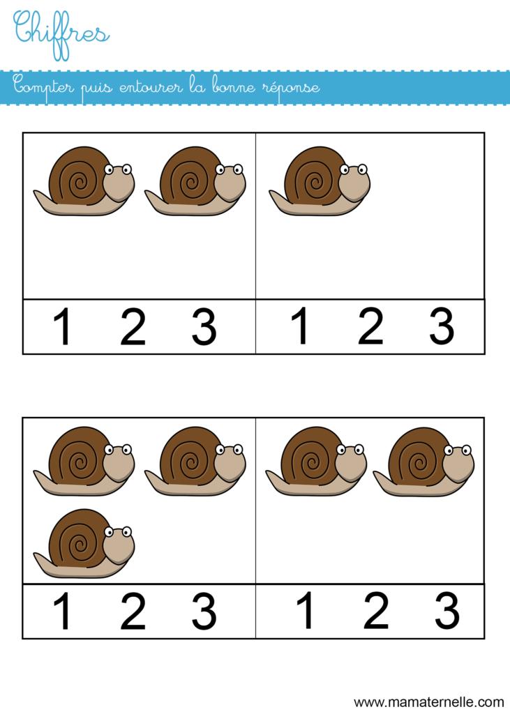 Petite section - Chiffres : compter puis entourer le chiffre