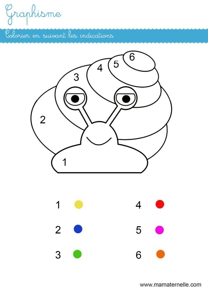 Moyenne section - Graphisme : colorier en suivant les indications