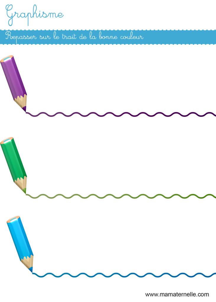 Moyenne section - Graphisme : repasser sur le trait