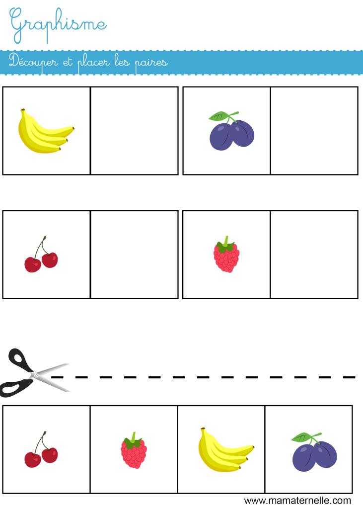 Petite section - Graphisme : découper et coller les paires
