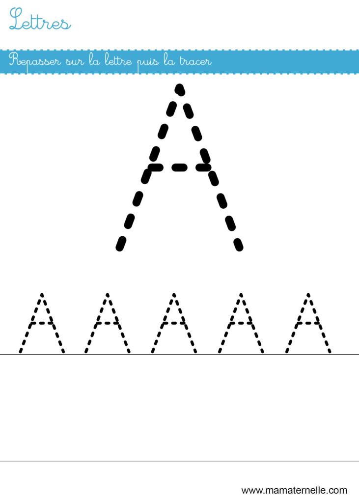 Petite section - Lettres : repasser sur la lettre A