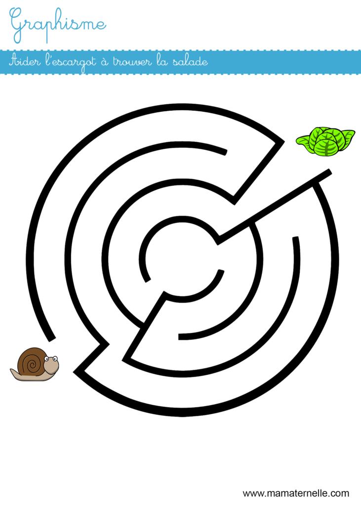 Moyenne section - Graphisme : aider l'escargot dans le labyrinthe