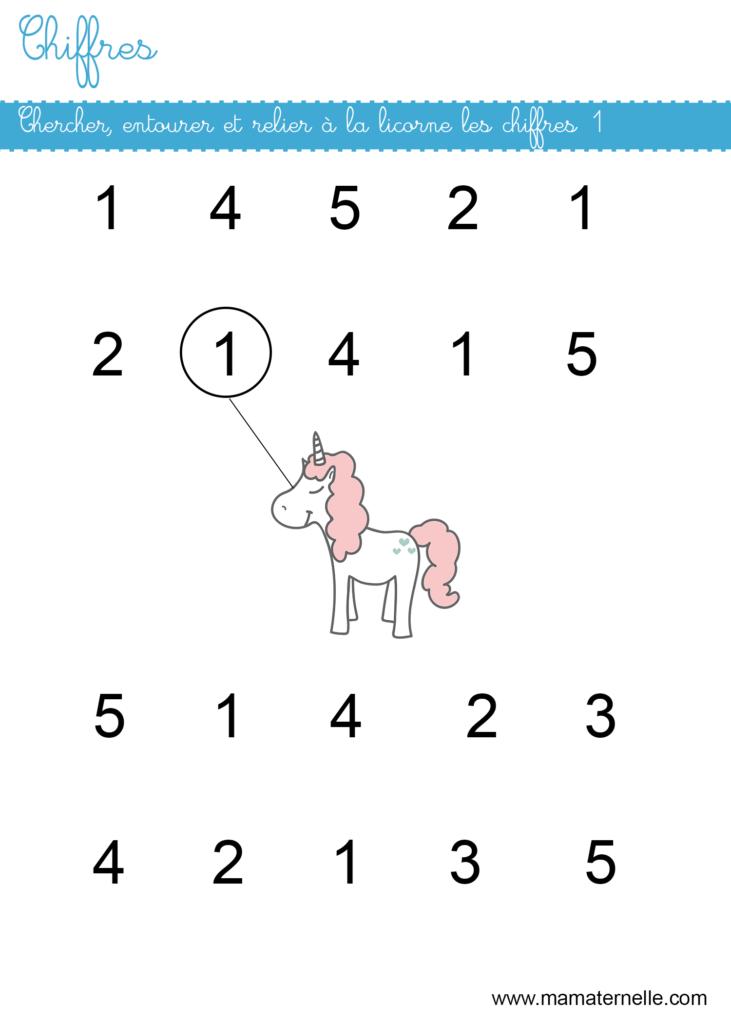 Petite section - Chiffres : chercher et relier les 1 à la licorne