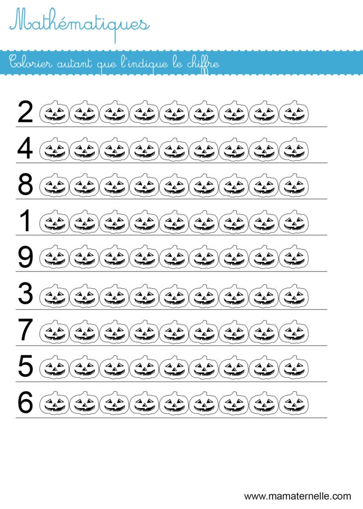 Moyenne section - Mathématiques : colorier autant que le chiffre