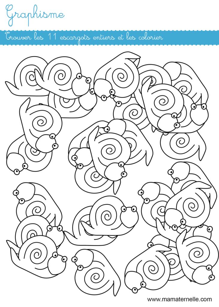 Moyenne section - Graphisme : trouver les escargots
