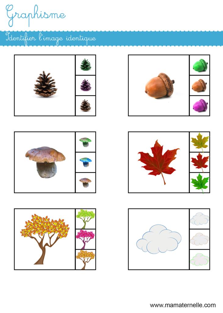 Petite section - Graphisme : identifier l'image identique