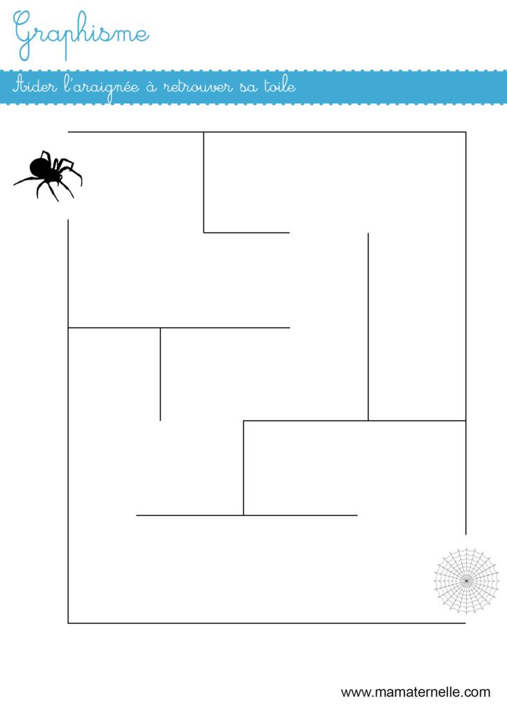 Petite section - Graphisme : aider l'araignée à retrouver sa toile