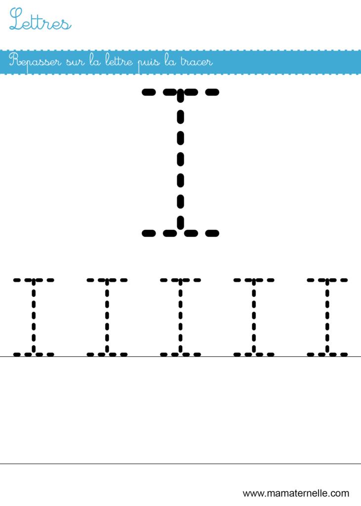 Petite section - Lettres : repasser sur la lettre I
