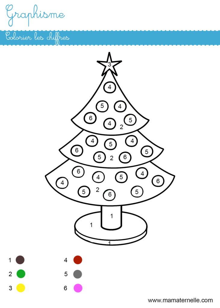 Moyenne section - Graphisme : colorier les chiffres