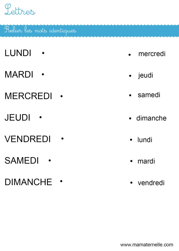 Moyenne section - Lettres : relier les mots identiques