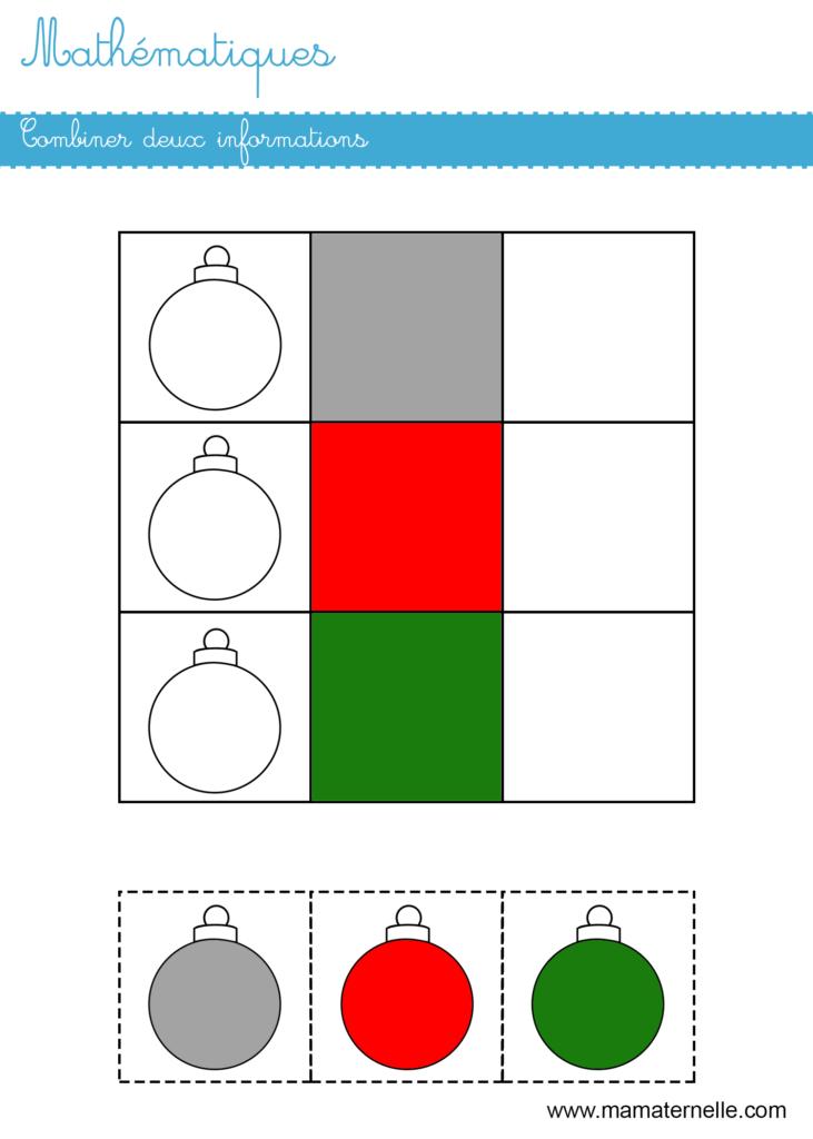 Moyenne section - Mathématiques : combiner deux informations