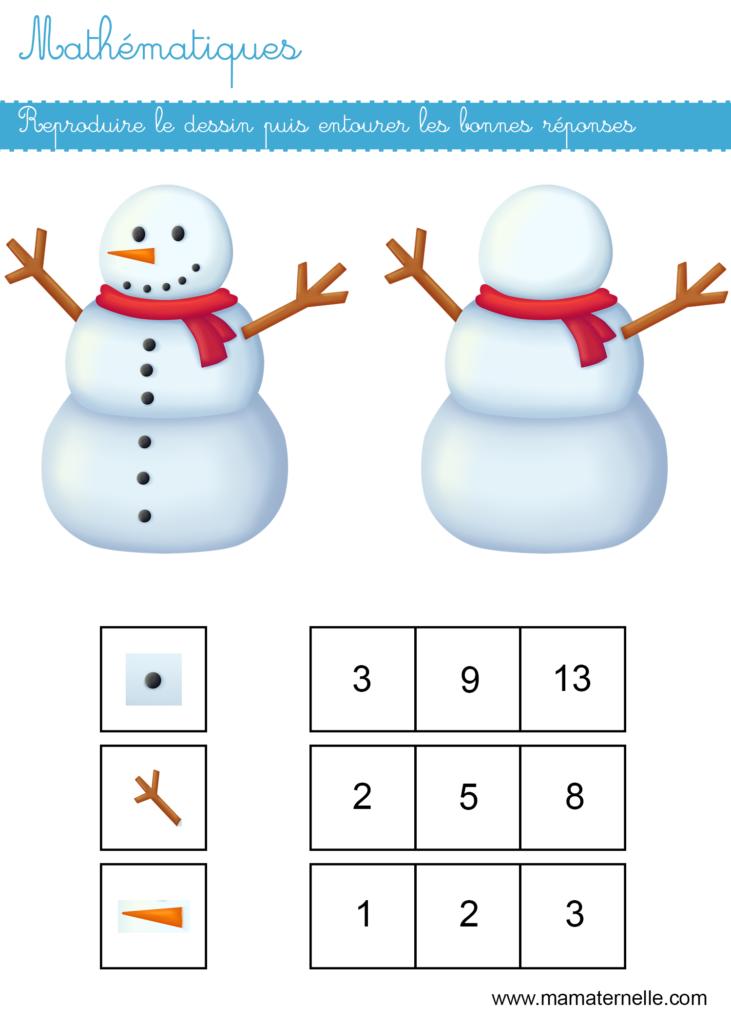 Moyenne section - Mathématiques : entourer la bonne réponse