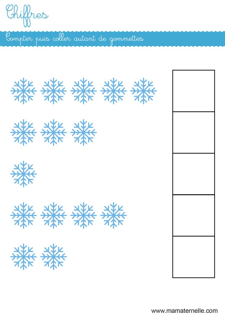 Petite section - Chiffres : compter puis coller des gommettes