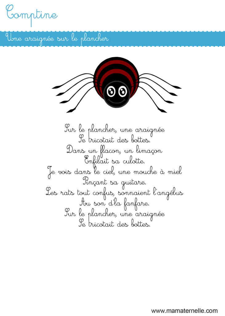 Activités - Comptine : une araignée sur le plancher