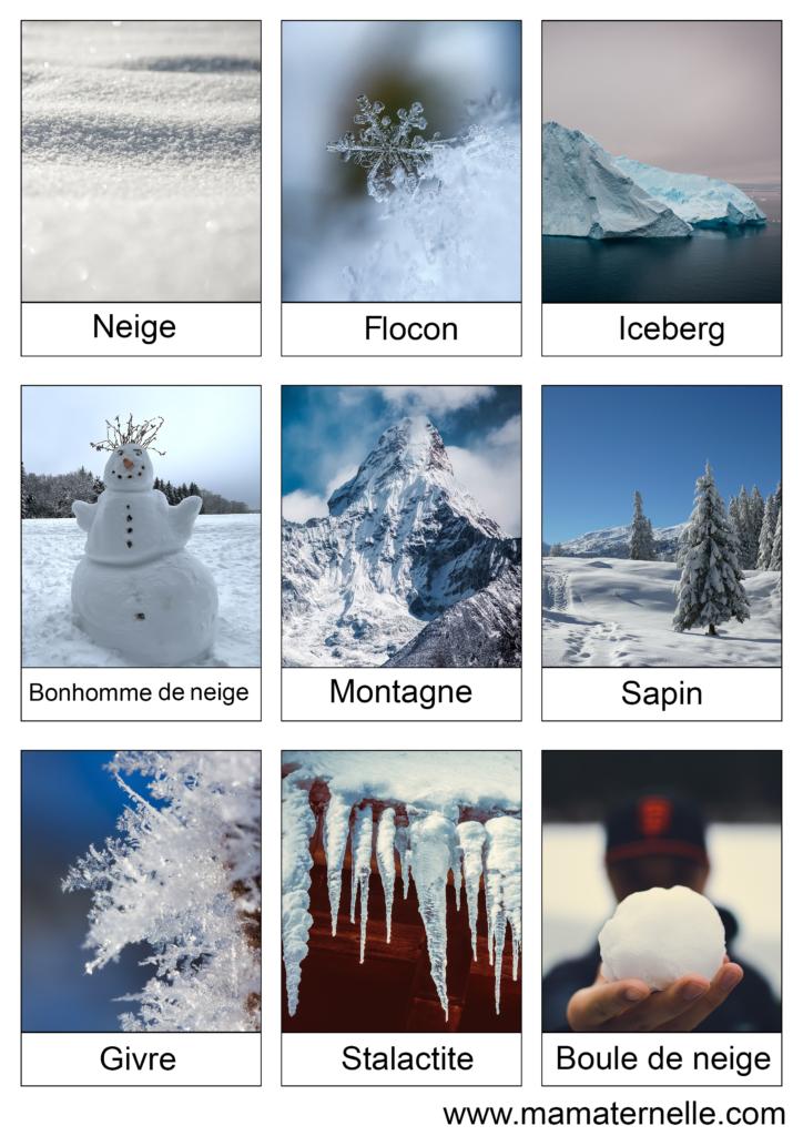 Activités - Cartes de nomenclature : Hiver