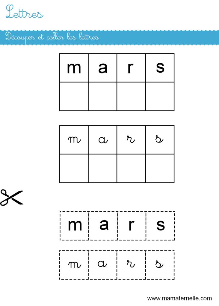 Grande section - Lettres : découper et coller les lettres