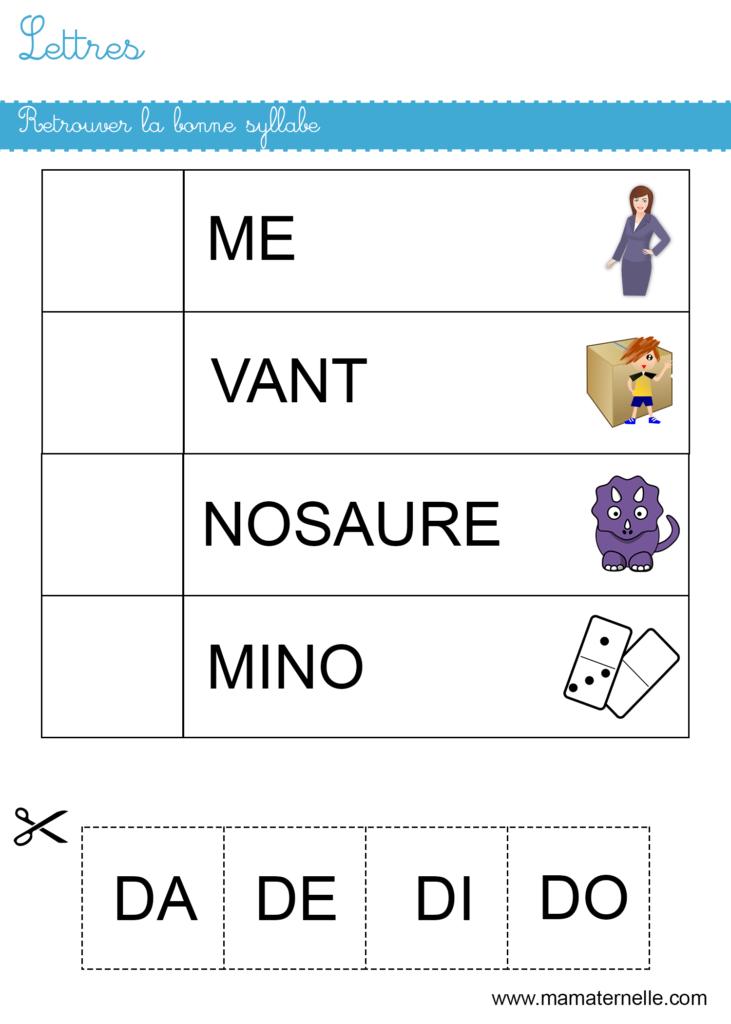 Grande section - Lettres : retrouver la bonne syllabe
