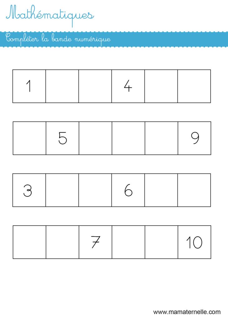 Grande section - Mathématiques : compléter la bande numérique
