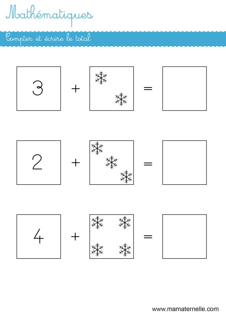 Grande section - Mathématiques : compter puis écrire le total