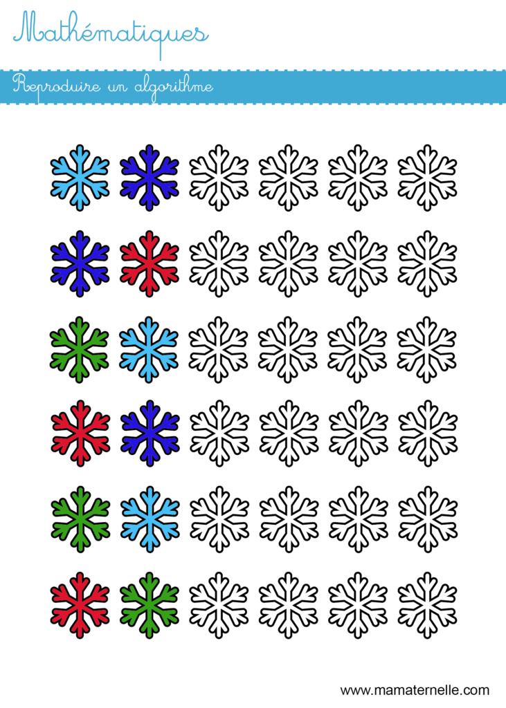 Grande section - Mathématiques : reproduire un algorithme