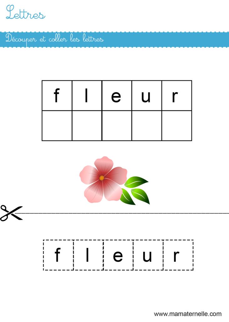 Moyenne section - Lettres : découper et coller les lettres