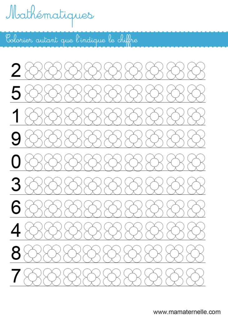 Grande section - Mathématiques : colorier autant que le chiffre