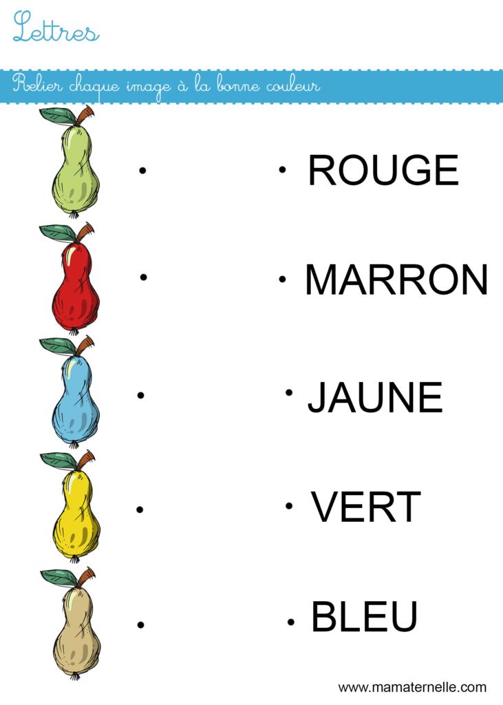 Grande section - Lettres : relier à la bonne couleur
