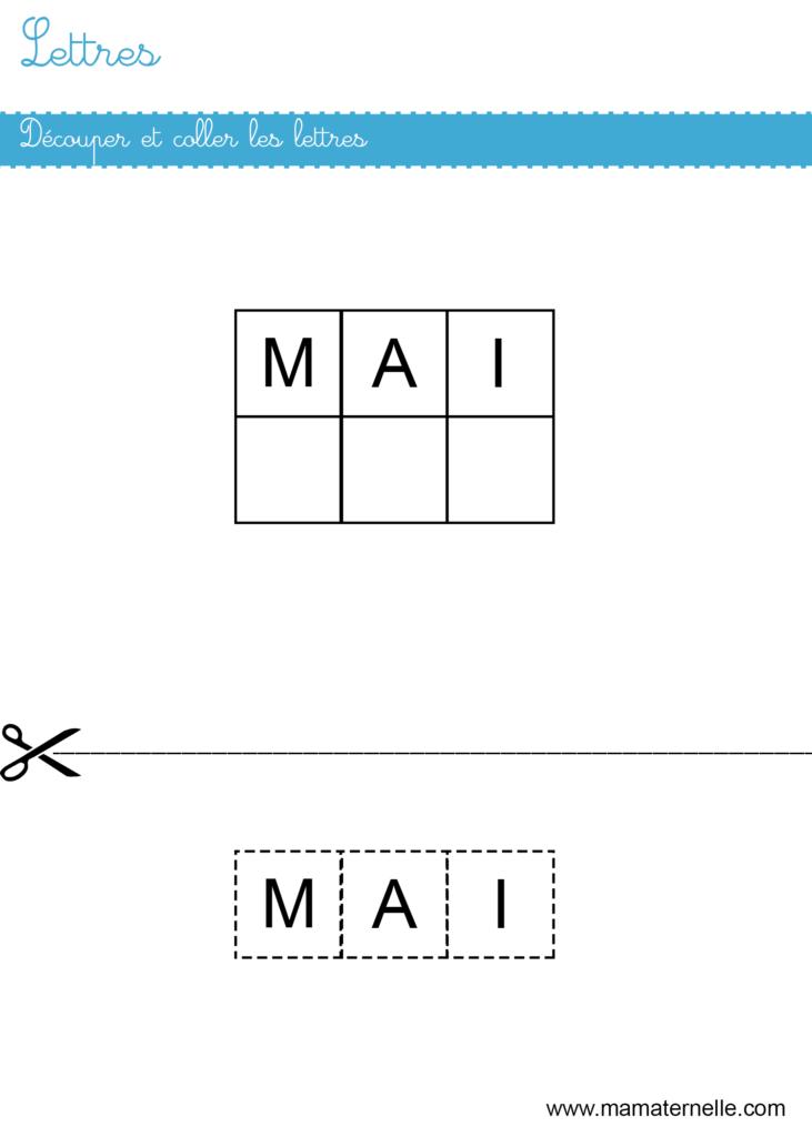 Petite section - Lettres : découper et coller