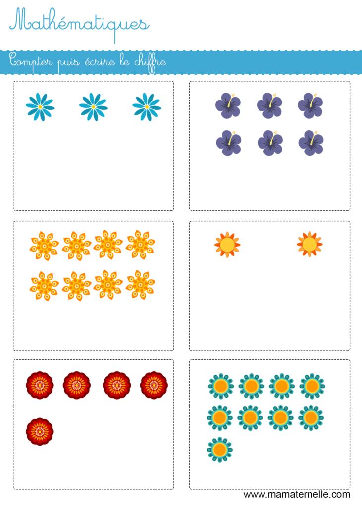 Grande section - Mathématiques : compter puis écrire le chiffre