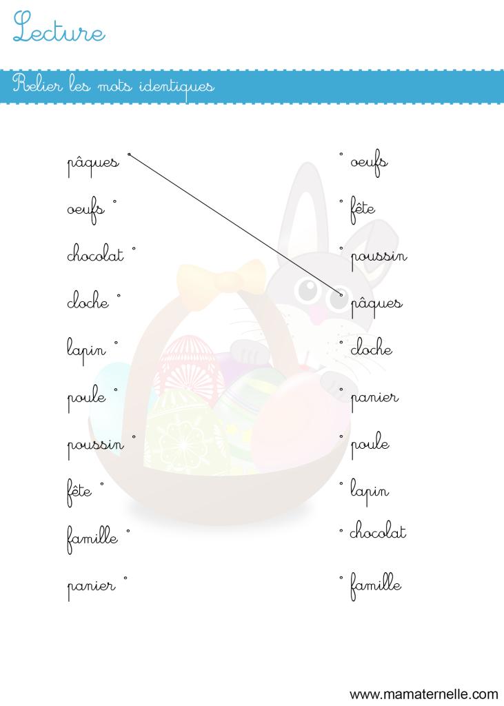 Grande section - Lettres : relier les mots identiques