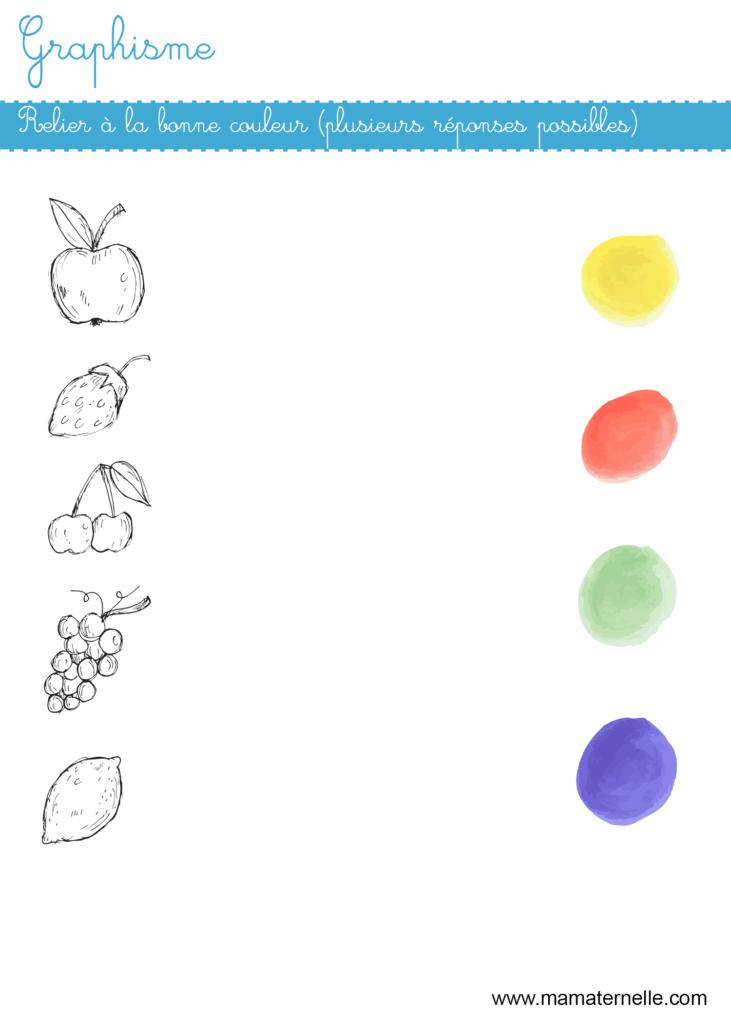 Petite section - Graphisme : relier à la bonne couleur