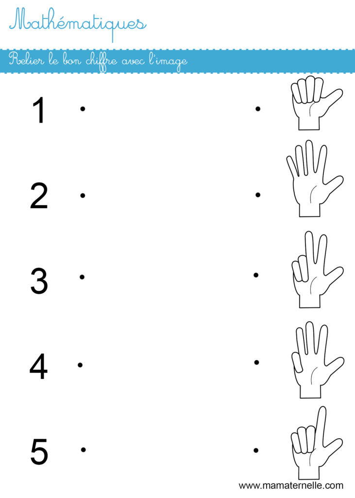 Moyenne section - Mathématiques : relier le bon chiffre avec l'image