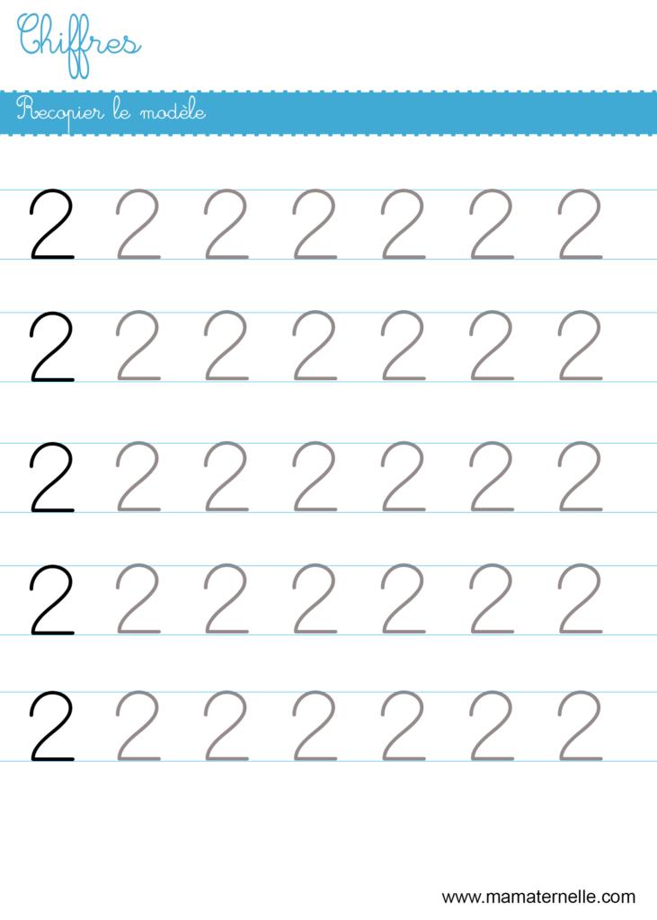 Petite section - Chiffres : recopier le modèle