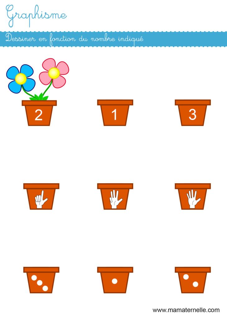 Moyenne section - Graphisme : dessiner en fonction du nombre indiqué